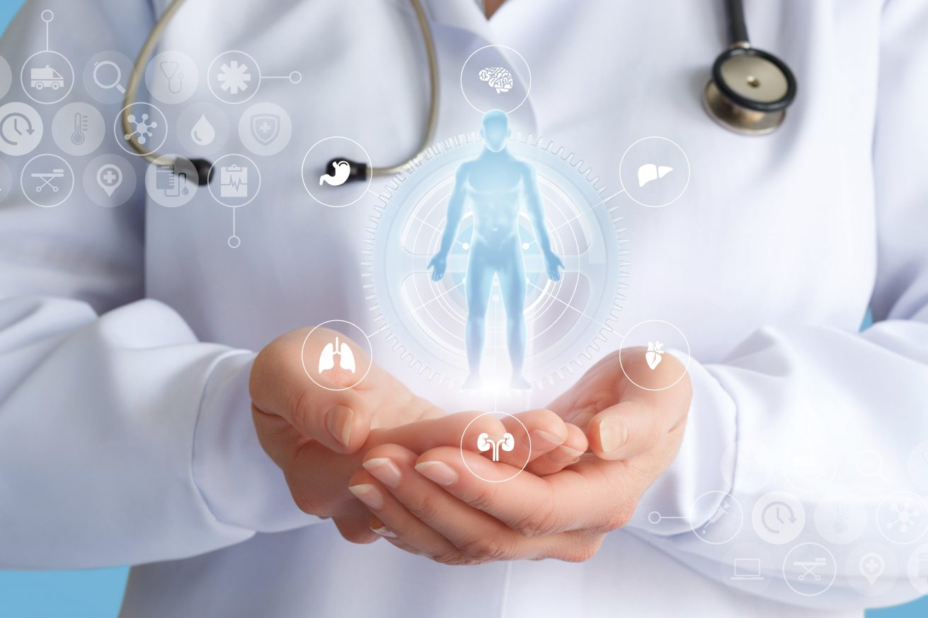 Doctor shows a hologram of a patient on a blue background.